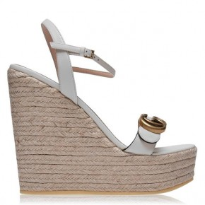 Gucci Womens GG platform Espadrille in White