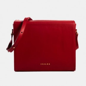 BAU Red leather strap hand bag
