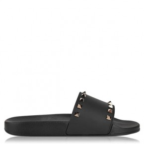 VALENTINO Black Rockstud Sliders