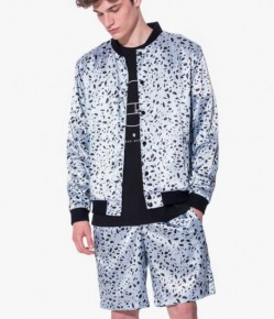 Aqua black dotted satin bomber jacket with shorts