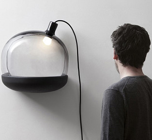 Black tinted glass lamp design by GGSV Studio