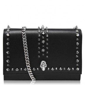 ALEXANDER MCQUEEN MINI SKULL BAG IN BLACK SILVER