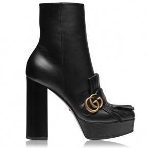 GUCCI LEATHER FRINGE PLATFORM ANKLE BOOTS