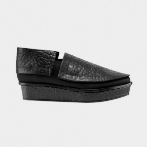 Sleek design black leather shoes with platform