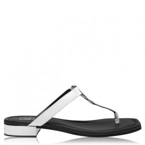 BALMAIN B Logo Silver Leather Palmyre Sandals