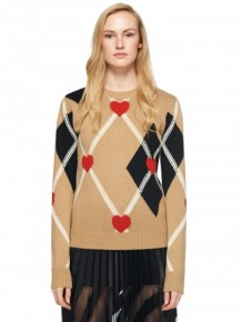 MSGM Argyle heart knitted jumper