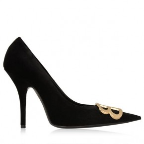 BALENCIAGA BB VELVET HEELED PUMPS