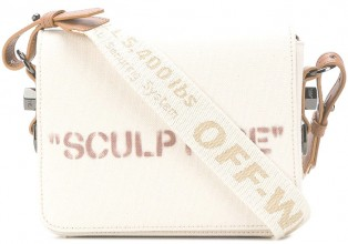 Off White Beige Cotton X Brown leather Sculpture shoulder bag