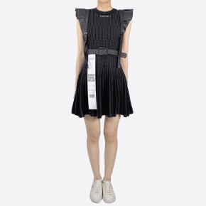 Y3NOLOGY Striped x Dotted Black Knitted Dress with Eco Leather Waist Belt