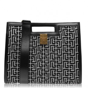 BALMAIN MEDIUM MONOGRAM JACQUARD TOTE BAG