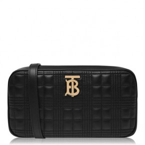 BURBERRY BLACK QUILTED CAMERA BAG