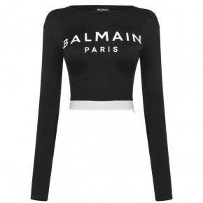 BALMAIN LOGO LONG SLEEVE CROP TOP