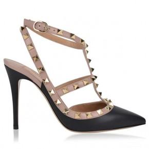 VALENTINO Black Rockstud 100 Ankle Strap Heels