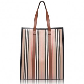 Burberry logo and stripe portrait tote bag