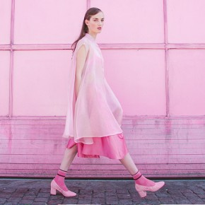 Pink silk chiffon dress two pieces
