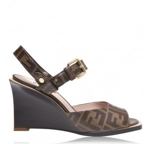 Fendi FF Logo Ankle Wrap Wedges High heels