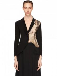 Yohji Yamamoto Silk asymmetric jacket with print