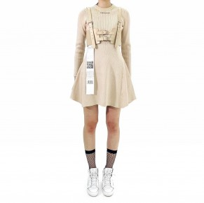 Y3NOLOGY Beige Knitted Dress with Leather Waist Belt
