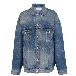 BALENCIAGA ALL OVER LOGO DENIM JACKET