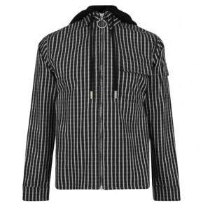 Off White striped hooded overshirt