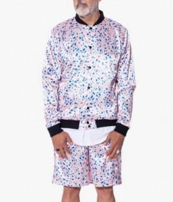 Pink pattern satin bomber jacket with shorts