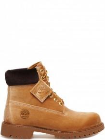 OFF WHITE X Timberland velvet camel boots