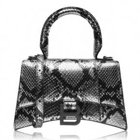 BALENCIAGA HOURGLASS XS SNAKE LEATHER BAG