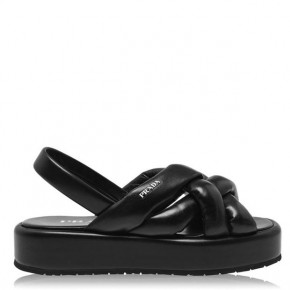PRADA BLACK CHUNKY LOGO SANDALS