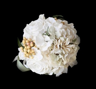 Brides Wedding Hand Flowers Bouquet Set White Rose Design