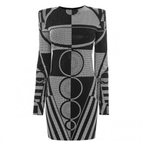 BALMAIN Black and Grey Dress